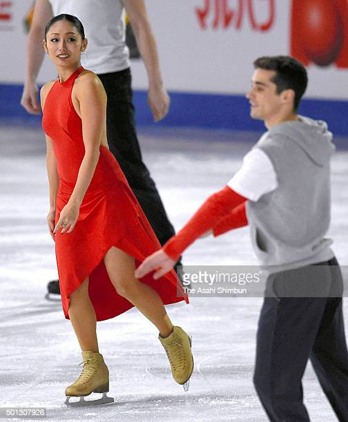Miki Ando of Japan and Javier Fernandez of Spain are seen at an exhibiton gala on day 4 of the ISU Junior Senior Grand Prix of Figure Skating Final...