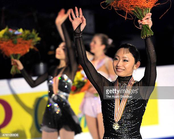 Miki Ando of Japan celebrates after winning the ladies singles during day seven of the 2011 World Figure Skating Championships at Megasport Ice Rink...