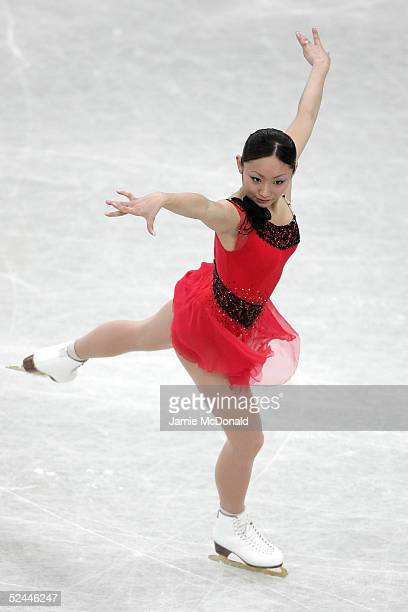 Miki Ando of Japan in action during the ladies short program at the ISU World Figure Skating Championships at the Lunzhiki Sports Palace on March 18...