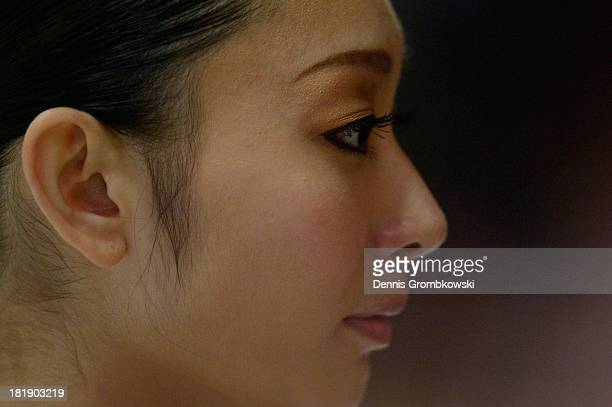 Miki Ando of Japan looks on prior to competing in the Ladies Short Program during day one of the ISU Nebelhorn Trophy at Eissportzentrum Oberstdorf...