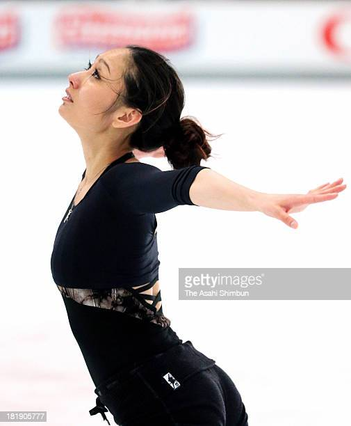 Miki Ando of Japan performs during a practice session ahead of the ISU Nebelhorn Trophy at Eissportzentrum Oberstdorf onon September 25 2013 in...