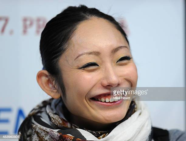 Miki Ando of Japan talks to the media in a press conference during Day Two of the ISU 46th Golden Spin of Zagreb at the Dom Sportova on December 6...