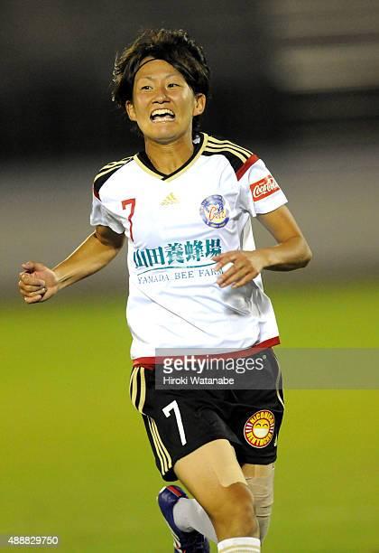 Miki Asano of Yunogo Belle in action during the Nadeshiko League match between Urawa Red Diamonds Ladies and Okayama Yunogo Belle at Komaba Stadium...