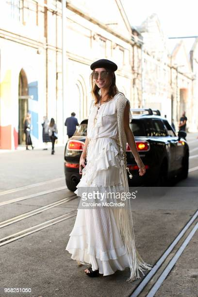 Miki Davis wears an Ixiah dress during MercedesBenz Fashion Week Resort 19 Collections at Carriageworks on May 14 2018 in Sydney Australia