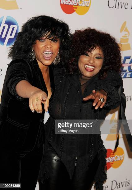 Miki Howard and Chaka Khan arrive at the Clive Davis And The Recording Academy's 2011 PreGRAMMY Gala at The Beverly Hilton hotel on February 12 2011...
