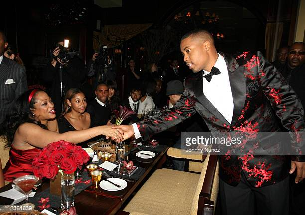 Miki Howard and Nas during Hennessy Paradis Private Dinner for Nas' Album Hip Hop is Dead at Gin Lane in New York City New York United States