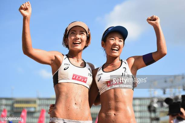 Miki Ishii and Megumi Murakami of Japan celebrate victory during the Women's bronze medal match between Ingrid Lunde and Oda Johanne Ulveseth of...