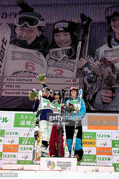 Miki Ito of Japan takes 2nd place Aiko Uemura of Japan takes 1st place Hannah Kearney of United States of America takes 3rd place during the FIS...