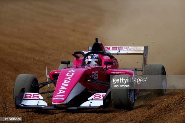 Miki Koyama of Japan drives her Tatuus F3 T-318 through a gravel trap during the W Series round six and final race of the inaugural championship at...