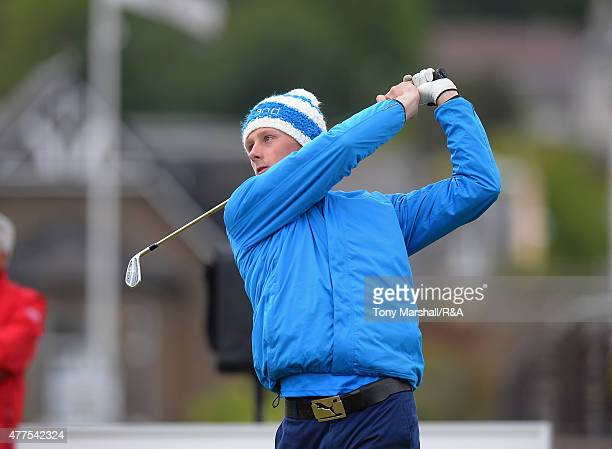 Miki Kuronen of Finland plays his first shot on the 1st tee during The Amateur Championship 2015 - Day Four at Carnoustie Golf Club on June 18, 2015...