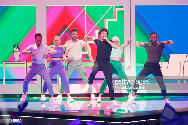 Miki Nunez representing Spain performs live on stage during the 64th annual Eurovision Song Contest held at Tel Aviv Fairgrounds on May 18 2019 in...