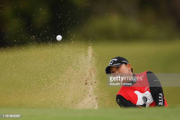 Miki Saeki of Japan hits from a bunker on the 7th hole during first round of Fujitsu Ladies at Tokyu Seven Hundred Club on October 18 2019 in Chiba...
