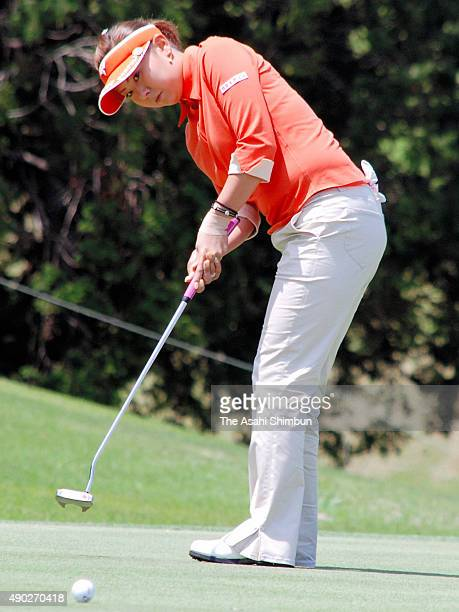 Miki Saiki of Japan attempts a birdie putt on the 2nd hole during the first round of the Fuji Sankei Ladies Classic at Kawana Hotel Golf Course on...