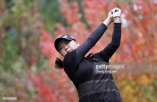 Miki Saiki of Japan hits a tee shot during the final round of the Mizuno Classic at Kintetsu Kashikojima Country Club on November 10 2013 in Shima...