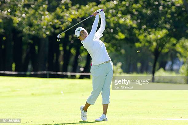 Miki Saiki of Japan hits approach shot on the 18th hole on the training day of the Nitori Ladies 2016 at the Otaru Country Club on August 23 2016 in...