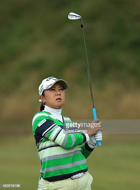 Miki Saiki of Japan hits her 2nd shot on the 3rd hole during the second round of the Ricoh Women's British Open at Royal Birkdale on July 11 2014 in...