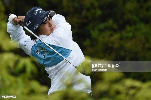 Miki Saiki of Japan hits her tee shot on the 11th hole during the first round of the HokennoMadoguchi Ladies at the Fukuoka Country Club Wajiro...