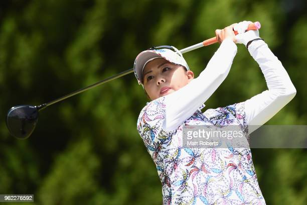 Miki Saiki of Japan hits her tee shot on the 11th hole during the first round of the Resorttust Ladies at Kansai Golf Club on May 25 2018 in Miki...