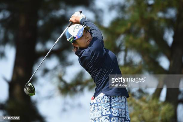 Miki Saiki of Japan hits her tee shot on the 3rd hole during the final round of the HokennoMadoguchi Ladies at the Fukuoka Country Club Wajiro Course...