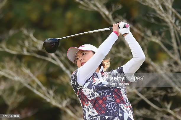 Miki Saiki of Japan hits her tee shot on the 8th hole during the second round of the Itoen Ladies Golf Tournament 2017 at the Great Island Club on...