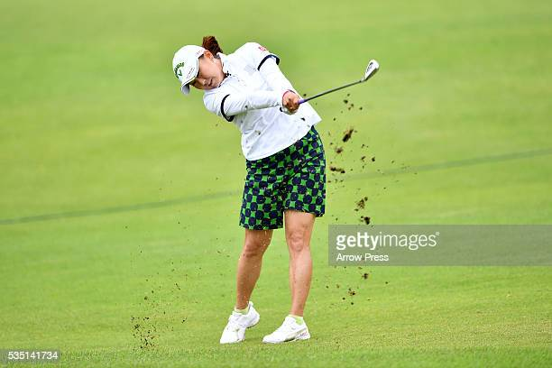 Miki Saiki of Japan hits her third shot on the 9th hole during the Final round of the Resorttrust Ladies at the Grandee Naruto Golf Club XIV on May...