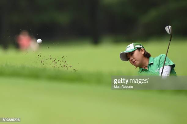 Miki Saiki of Japan hits out of the first green bunker during the first round of the NEC Karuizawa 72 Golf Tournament 2017 at the Karuizawa 72 Golf...