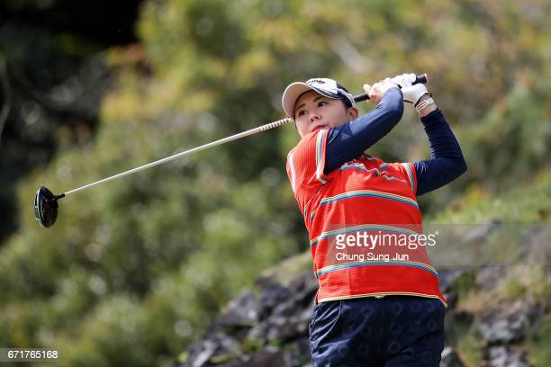 Miki Saiki of Japan of Japan plays a tee shot on the 3rd hole during the final round of Fujisankei Ladies Classic at the Kawana Hotel Golf Course...