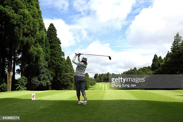 Miki Saiki of Japan plays a tee shot on the second hole during the first round of the Nichirei Ladies at the Sodegaura Country Club Shinsode Course...