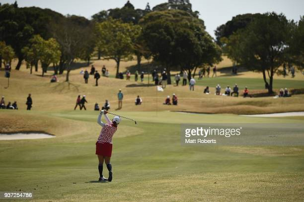 Miki Saiki of Japan plays her approach shot during the second round of the AXA Ladies Golf Tournament In Miyazaki at the UMK Country Club on March 24...