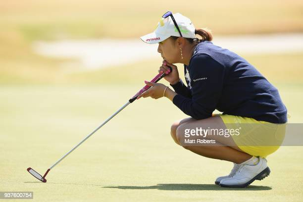Miki Saiki of Japan prepares to putt during the final round of the AXA Ladies Golf Tournament In Miyazaki at the UMK Country Club on March 25 2018 in...