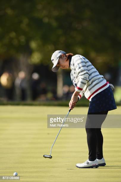 Miki Saiki of Japan putts on the 15th green during the final round of the Itoen Ladies Golf Tournament 2017 at the Great Island Club on November 12...