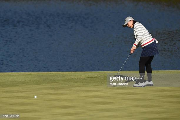 Miki Saiki of Japan putts on the 7th green during the final round of the Itoen Ladies Golf Tournament 2017 at the Great Island Club on November 12...