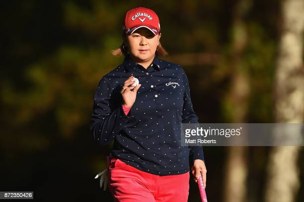 Miki Saiki of Japan reacts after her putt on the first green during the first round of the Itoen Ladies Golf Tournament 2017 at the Great Island Club...