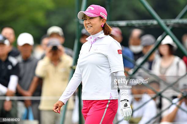 Miki Saiki of Japan smails during the first round of the Resorttrust Ladies at the Grandee Naruto Golf Club XIV on May 27 2016 in Naruto Japan