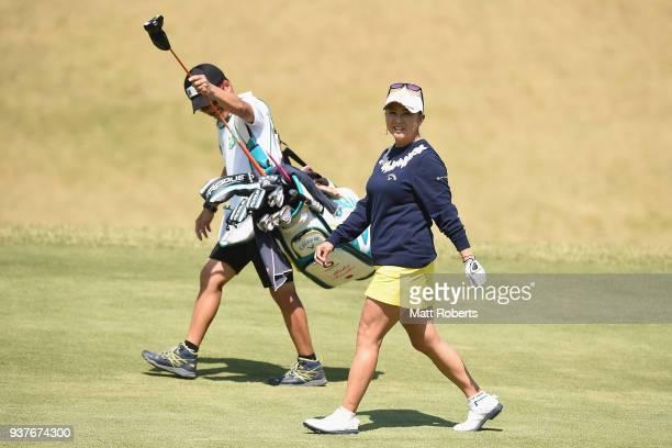 Miki Saiki of Japan smiles during the final round of the AXA Ladies Golf Tournament In Miyazaki at the UMK Country Club on March 25 2018 in Miyazaki...