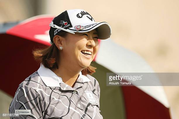 Miki Saiki of Japan smiles during the first round of the HokennoMadoguchi Ladies at the Fukuoka Country Club Ishino Course on May 13 2016 in Fukuoka...