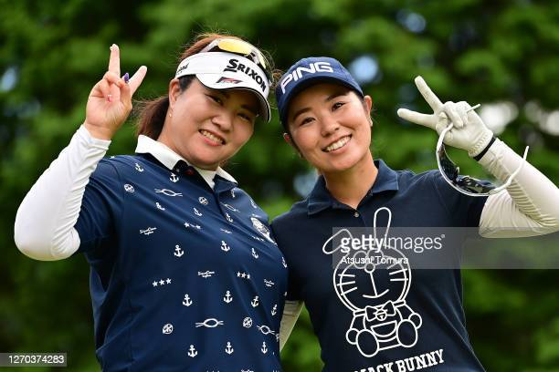 Miki Sakai and Mamiko Higa of Japan pose for a photo during the practice round ahead of the GOLF5 Ladies Tournament at the GOLF5 Country Mizunami...