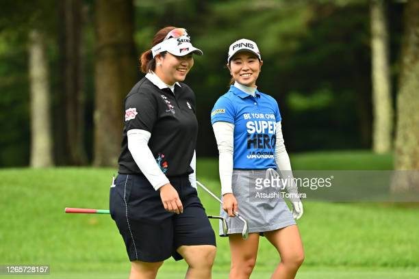 Miki Sakai and Mamiko Higa of Japan share a laugh during a practice round ahead of the NEC Karuizawa 72 Golf Tournament at the Karuizawa 72 Golf Kita...