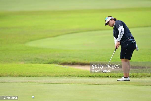 Miki Sakai of Japan attempts a putt on the 16th green during the second round of the Japan Women's Open Golf Championship at the Classic Golf Club on...