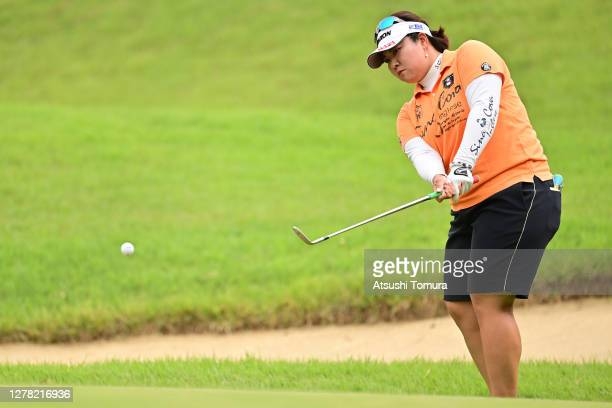 Miki Sakai of Japan chips onto the 3rd green during the third round of the Japan Women's Open Golf Championship at the Classic Golf Club on October...