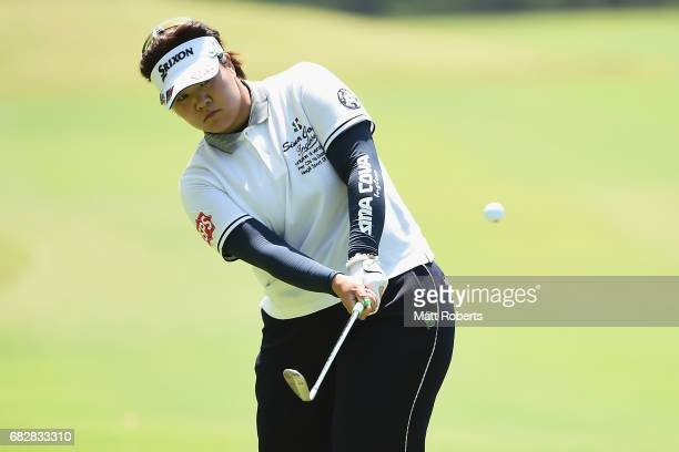 Miki Sakai of Japan chips onto the 8th green during the final round of the HokennoMadoguchi Ladies at the Fukuoka Country Club Wajiro Course on May...