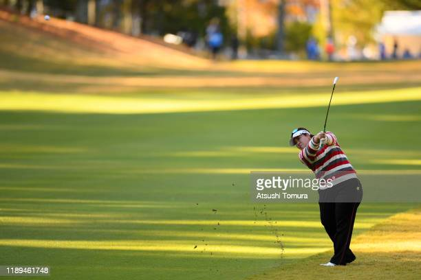 Miki Sakai of Japan hits her second shot on the 10th hole during the third round of the Daio Paper Elleair Ladies at Elleair Golf Club Matsuyama on...
