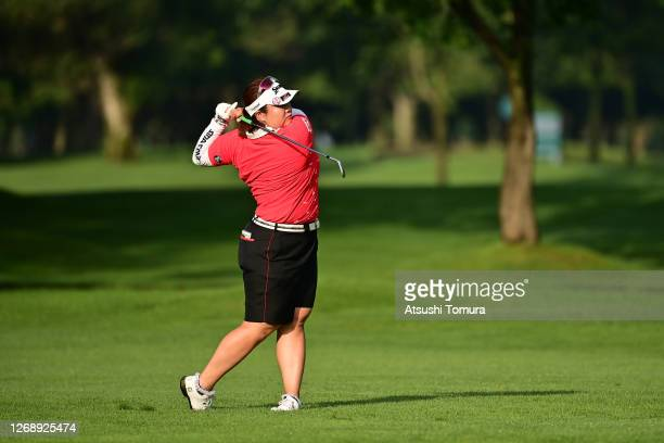 Miki Sakai of Japan hits her second shot on the 10th hole during the first round of the Nitori Ladies Golf Tournament at the Otaru Country Club on...