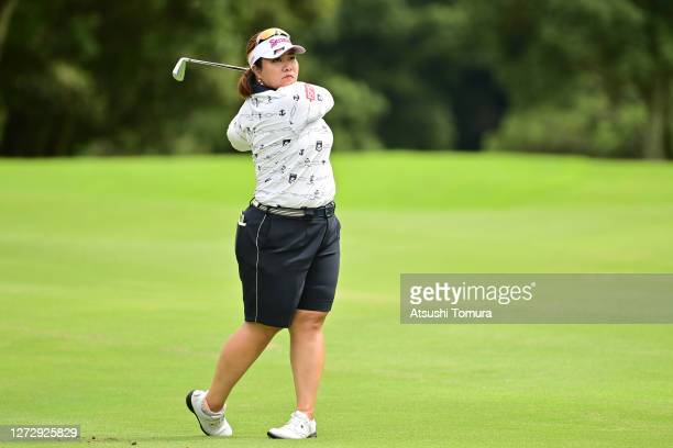 Miki Sakai of Japan hits her second shot on the 14th hole during the practice round ahead of the Descente Ladies Tokai Classic at the Shin Minami...