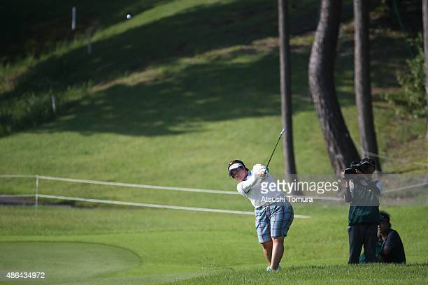 Miki Sakai of Japan hits her second shot on the 18th hole during the first round of the Golf 5 Ladies Tournament 2015 at the Mizunami Country Club on...