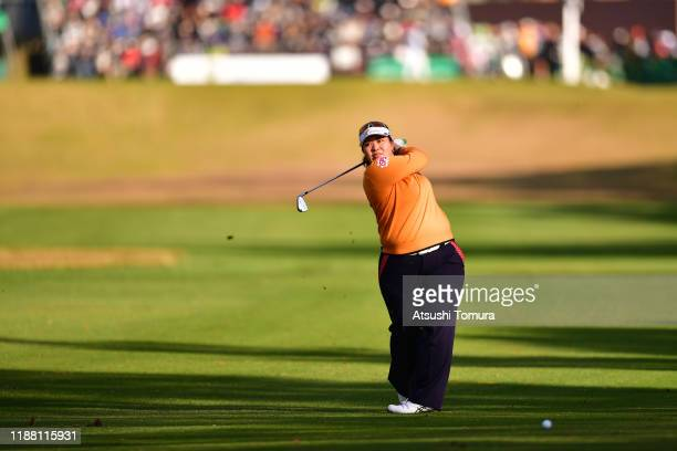 Miki Sakai of Japan hits her second shot on the 1st hole during the final round of the ItoEn Ladies at Great Island Club on November 17 2019 in...