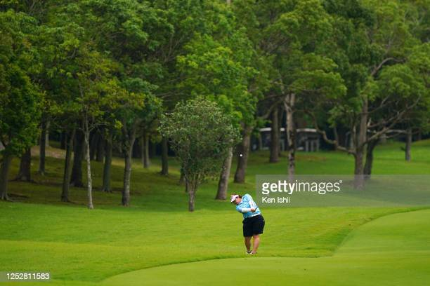 Miki Sakai of Japan hits her second shot on the 5th hole during the third round of the Earth Mondamin Cup at the Camellia Hills Country Club on June...