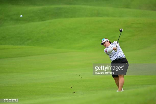 Miki Sakai of Japan hits her second shot on the 5th hole during the final round of the Descente Ladies Tokai Classic at the Shin Minami Aichi Country...