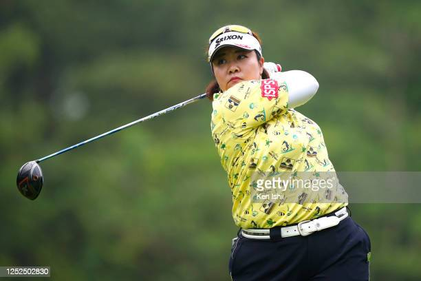 Miki Sakai of Japan hits her tee shot on the 10th hole during the second round of the Earth Mondamin Cup at the Camellia Hills Country Club on June...