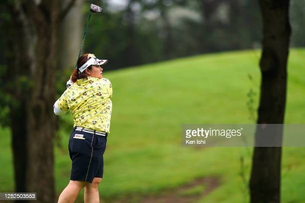 Miki Sakai of Japan hits her tee shot on the 11th hole during the second round of the Earth Mondamin Cup at the Camellia Hills Country Club on June...